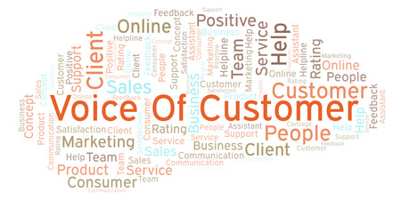 Voice Of Customer word cloud. Made with text only.