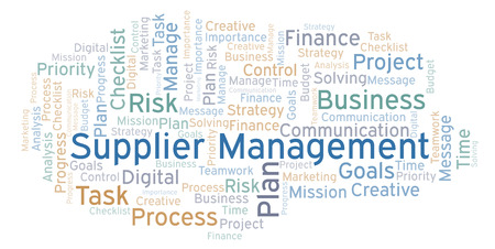 Supplier Management word cloud, made with text only