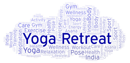 Yoga Retreat word cloud. Wordcloud made with text only. Imagens