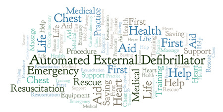 Automated External Defibrillator word cloud, made with text only