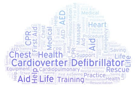 Cardioverter Defibrillator word cloud, made with text only Stock Photo