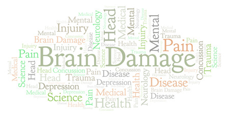 Brain Damage word cloud. Wordcloud made with text only. Stock Photo