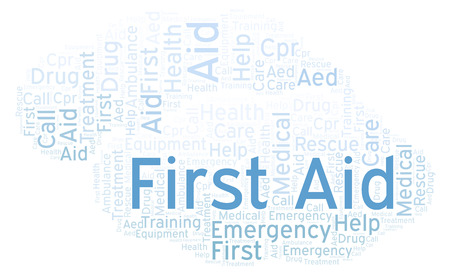 First Aid word cloud, made with text only Stock Photo