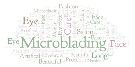 Microblading word cloud. Wordcloud made with text only.