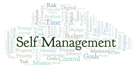 Self Management word cloud, made with text only Reklamní fotografie - 108808358