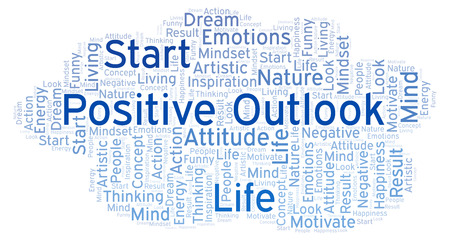Positive Outlook word cloud, made with text only Stock Photo