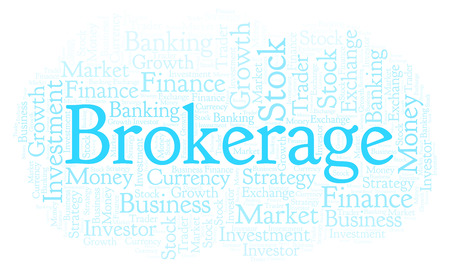 Brokerage word cloud. Wordcloud made with text only. Stock Photo
