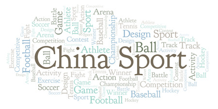 China Sport word cloud. Made with text only.