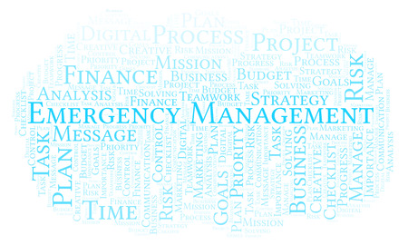 Emergency Management word cloud, made with text only Zdjęcie Seryjne
