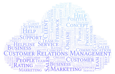 Customer Relations Management word cloud. Made with text only.