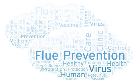 Flue Prevention word cloud, made with text only Stok Fotoğraf