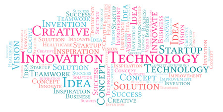 Innovation Technology word cloud, made with text only Stock Photo