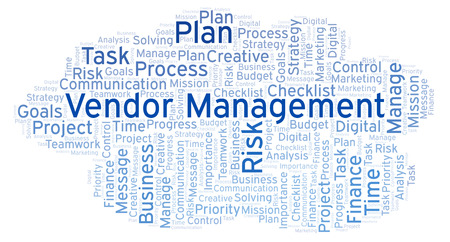 Vendor Management word cloud, made with text only