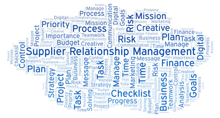 Supplier Relationship Management word cloud, made with text only Stok Fotoğraf