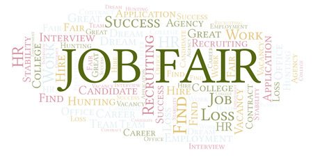 Job Fair word cloud. Wordcloud made with text only.