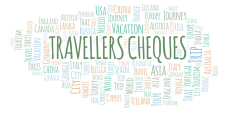 Travellers Cheques word cloud. Wordcloud made with text only.