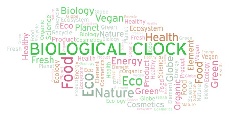 Biological Clock word cloud. Wordcloud made with text only. Stock Photo
