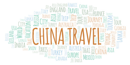 China Travel word cloud. Wordcloud made with text only. Stock Photo