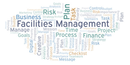 Facilities Management word cloud, made with text only