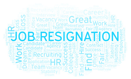 Job Resignation word cloud. Wordcloud made with text only.
