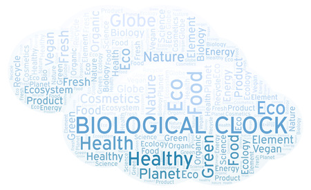 Biological Clock word cloud. Wordcloud made with text only. Stok Fotoğraf