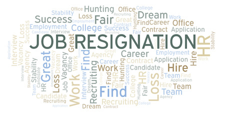 Job Resignation word cloud. Wordcloud made with text only. Stock Photo - 109204074