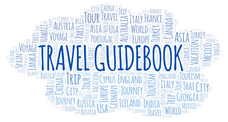 Travel Guidebook word cloud. Wordcloud made with text only. Imagens
