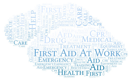First Aid At Work word cloud, made with text only