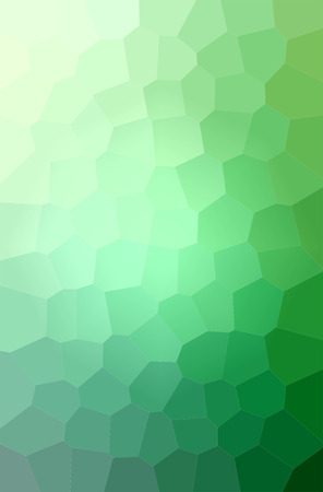 Illustration of green big hexagon vertical background digitally generated.