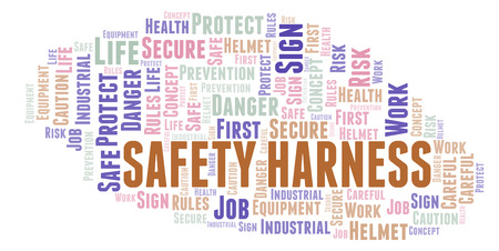 Safety Harness word cloud. Word cloud made with text only.