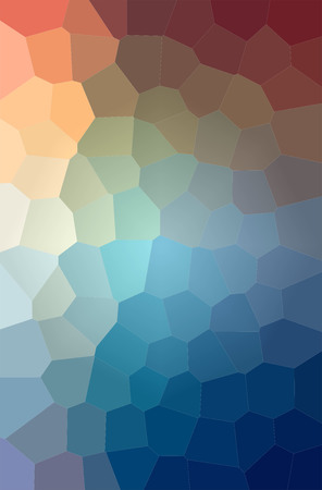 Illustration of blue and red big hexagon vertical background digitally generated.
