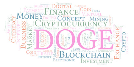 Doge or DogeCoin cryptocurrency coin word cloud. Word cloud made with text only.