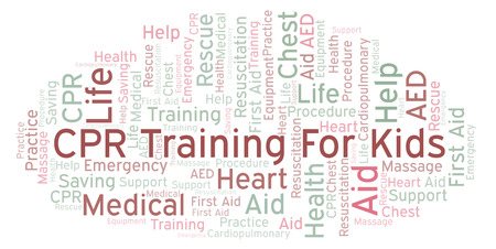 CPR Training For Kids word cloud, made with text only Banque d'images - 109614824