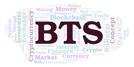 BTS or BitShares cryptocurrency coin word cloud. Word cloud made with text only.