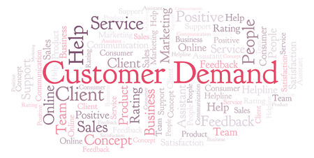 Customer Demand word cloud. Made with text only. Stock Photo