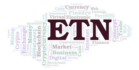 ETN or Electroneum cryptocurrency coin word cloud. Word cloud made with text only. 免版税图像