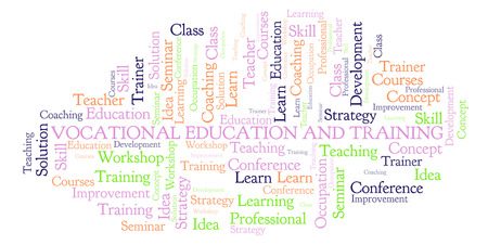 Vocational Education And Training word cloud. Wordcloud made with text only. Foto de archivo - 109885794