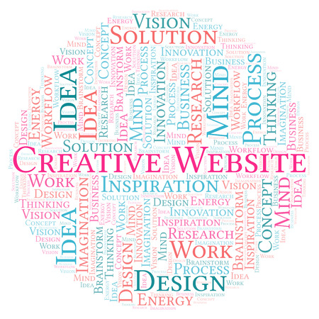Creative Website word cloud, made with text only Stock Photo