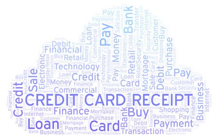 credit card receipt word cloud wordcloud made with text only
