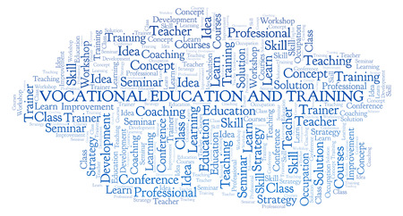 Vocational Education And Training word cloud. Wordcloud made with text only. Foto de archivo - 109927860