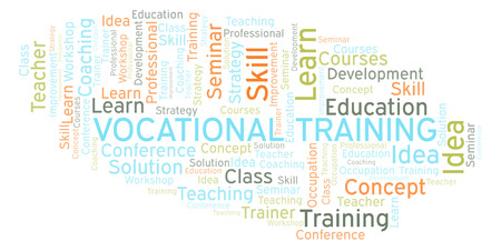 Vocational Training word cloud. Wordcloud made with text only. Foto de archivo - 109927861