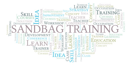 Sandbag Training word cloud. Wordcloud made with text only. Stock Photo