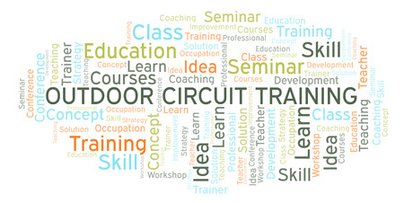 Outdoor Circuit Training word cloud. Wordcloud made with text only. Stock Photo
