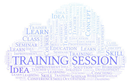 Training Session word cloud. Wordcloud made with text only.