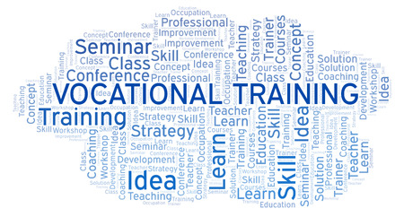 Vocational Training word cloud. Wordcloud made with text only. Foto de archivo - 110028749