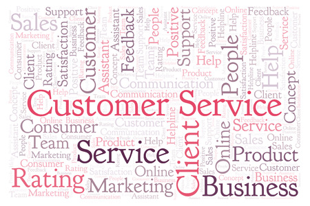 Customer Service word cloud. Made with text only.
