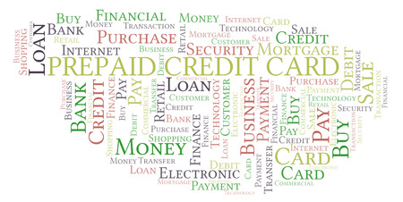 Prepaid Credit Card word cloud. Wordcloud made with text only.