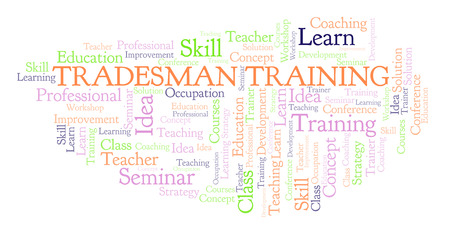 Tradesman Training word cloud. Wordcloud made with text only. Reklamní fotografie - 110158834