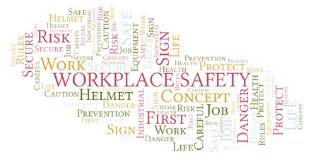 Workplace Safety word cloud. Word cloud made with text only. Фото со стока