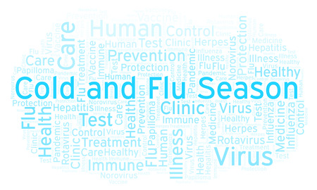 Cold and Flu Season word cloud, made with text only